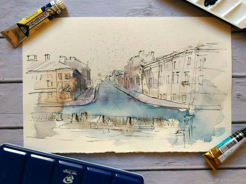 Экскурсия Скетчинг с художником на крыше и набережной Петербурга